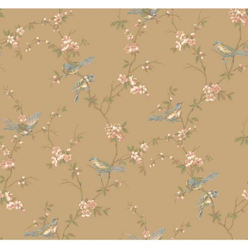 York Wallcoverings Callaway Cottage Gold Floral Branches with Birds Wallpaper