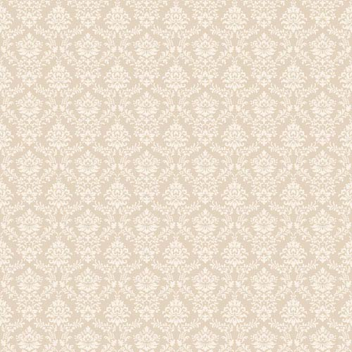 York Wallcoverings Callaway Cottage Ecru and Cream Flowered Damask Wallpaper: Sample Swatch Only