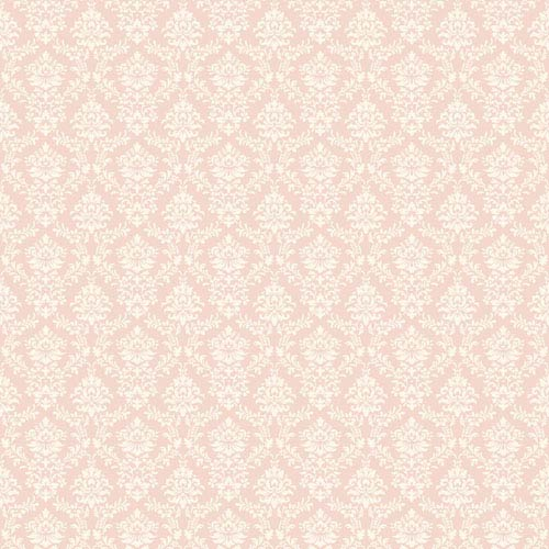 York Wallcoverings Callaway Cottage Pink and White Flowered Damask Wallpaper: Sample Swatch Only
