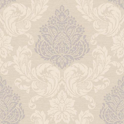 York Wallcoverings Callaway Cottage Beige and Silver Silky Damask Wallpaper