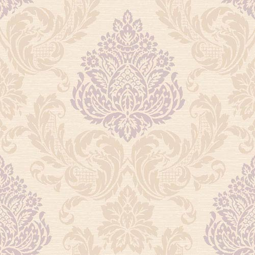 York Wallcoverings Callaway Cottage Cream And Light Purple Silky Damask Wallpaper Sample Swatch Only