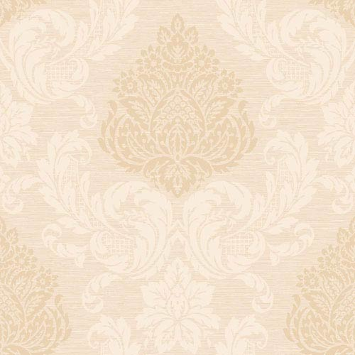 York Wallcoverings Callaway Cottage Cream and Ecru Silky Damask Wallpaper