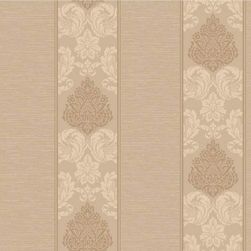 York Wallcoverings Callaway Cottage Light Brown and Copper Silky Damask Stripe Wallpaper