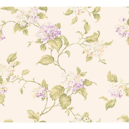 York Wallcoverings Callaway Cottage White and Purple Hydrangia Sidewall Wallpaper: Sample Swatch Only