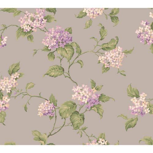 York Wallcoverings Callaway Cottage Silver Hydrangia Sidewall Wallpaper: Sample Swatch Only