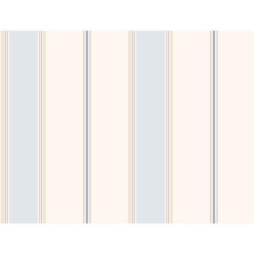 York Wallcoverings Callaway Cottage White and Blue Wide Stripe Regatta Wallpaper: Sample Swatch Only