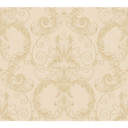 York Wallcoverings Inspired by Color Tan and Deep Gold Metallic Wallpaper