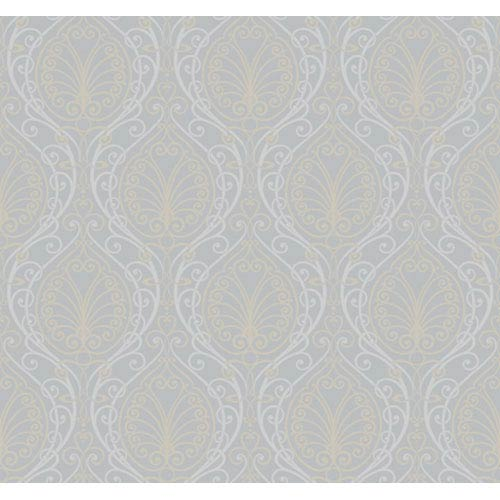 York Wallcoverings Candice Olson Dimensional Surfaces Metallic Filigree Damask Wallpaper: Sample Swatch Only