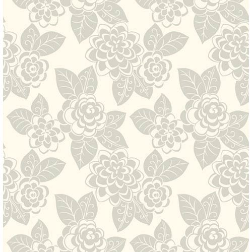 York Wallcoverings Candice Olson Dimensional Surfaces Flocked Floral Wallpaper: Sample Swatch Only