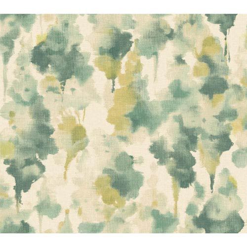 Candice Olson Modern Nature Silvery White and Teal Mirage Wallpaper