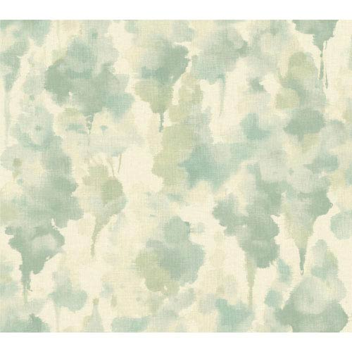 Candice Olson Modern Nature Silvery White and Aquamarine Mirage Wallpaper: Sample Swatch Only