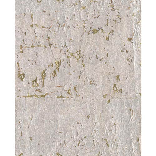 York Wallcoverings Candice Olson Modern Nature Silvery Grey and Metallic Gold Cork Wallpaper
