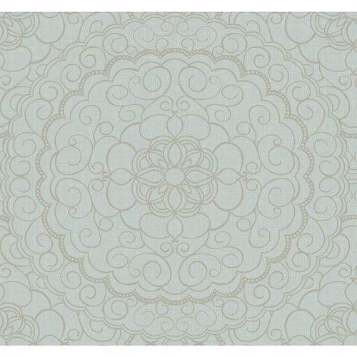 Candice Olson Modern Nature Light Blue and Silver Glitter Karma Wallpaper