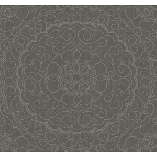 Candice Olson Modern Nature Dark Grey and Gold Glitter Karma Wallpaper