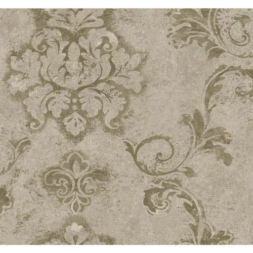 Ronald Redding Designer Damask Grey and Silver Taupe Andalucia Wallpaper: Sample Swatch Only