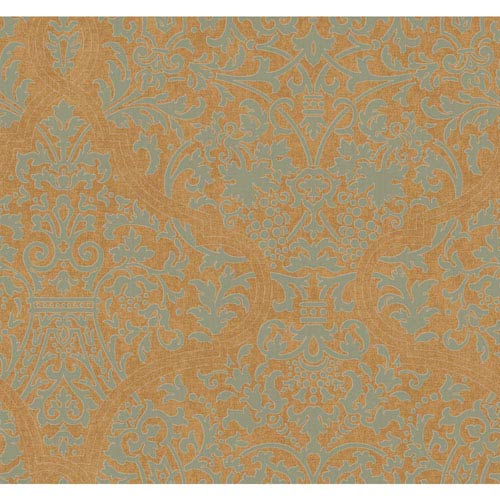 Ronald Redding Designer Damask Gold and Metallic Silver Granville Wallpaper: Sample Swatch Only