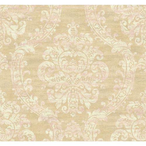 Ronald Redding Designer Damask Pale Gold Sheen and Taupe Grand Palais Wallpaper