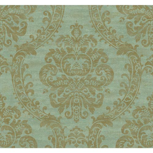 York Wallcoverings Ronald Redding Designer Damask Deep Aqua And Metallic Gold Grand Palais Wallpaper