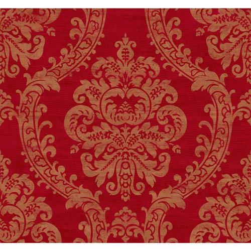 York Wallcoverings Ronald Redding Designer Damask Red And Metallic Gold Grand Palais Wallpaper