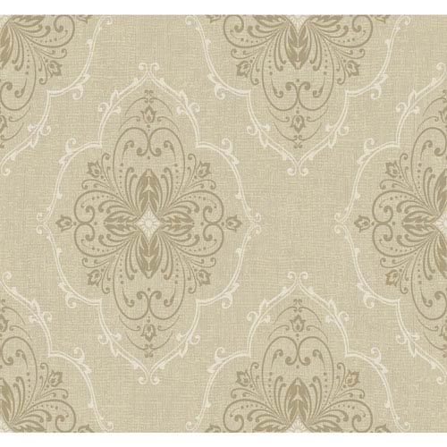 Ronald Redding Designer Damask Beige and Grey Monte Christo Wallpaper: Sample Swatch Only