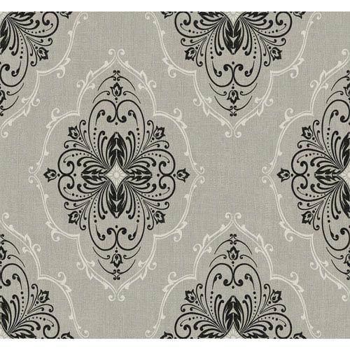 Ronald Redding Designer Damask Grey and Black Monte Christo Wallpaper: Sample Swatch Only