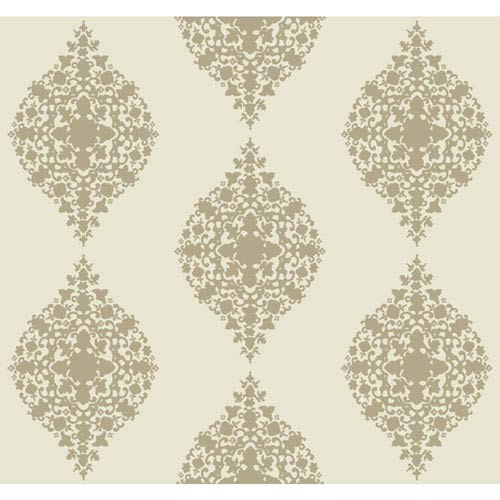 Ronald Redding Designer Damask Taupe and Cream Mikado Wallpaper