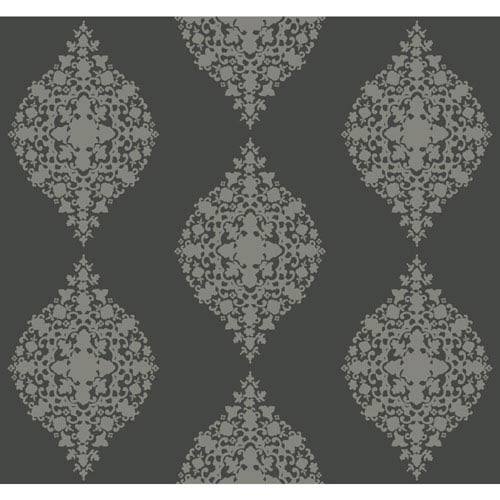 Ronald Redding Designer Damask Silver and Dark Grey Mikado Wallpaper