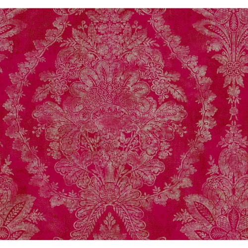 Ronald Redding Designer Damask Hot Pink and Taupe Charleston Wallpaper