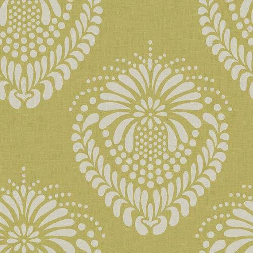 Ronald Redding Designer Damask Mustard Gold and White Escala Wallpaper: Sample Swatch Only