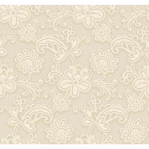 York Wallcoverings Candice Olson Shimmering Details Light Brown Modern Lace Wallpaper: Sample Swatch Only
