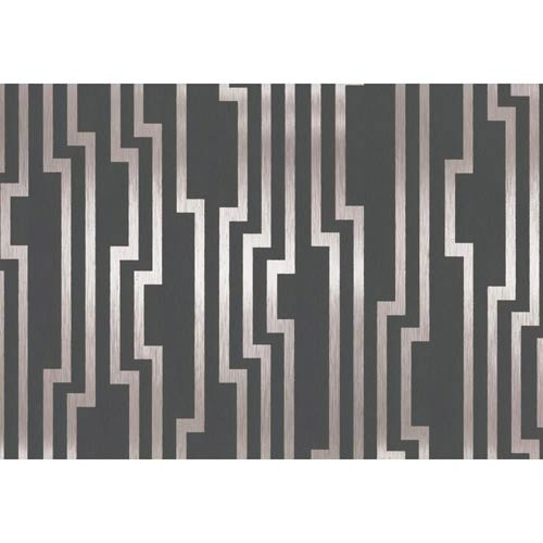 York Wallcoverings Candice Olson Shimmering Details Black and Silver Velocity Wallpaper