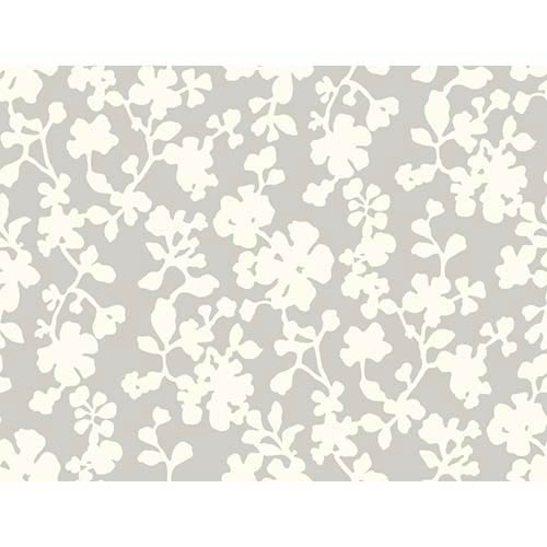 York Wallcoverings Candice Olson Shimmering Details Light Metallic Shadow Flowers Wallpaper