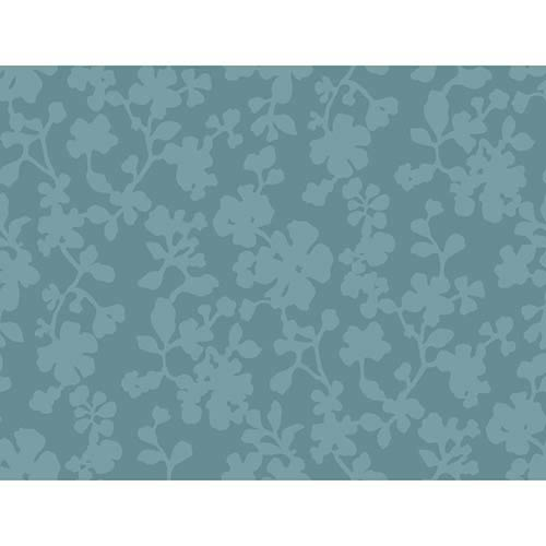 Candice Olson Shimmering Details Dark Blue Shadow Flowers Wallpaper