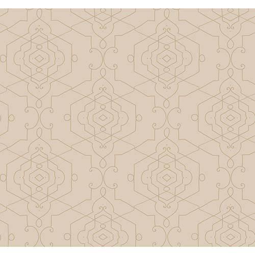 York Wallcoverings Candice Olson Shimmering Details Brown Aviva Wallpaper: Sample Swatch Only