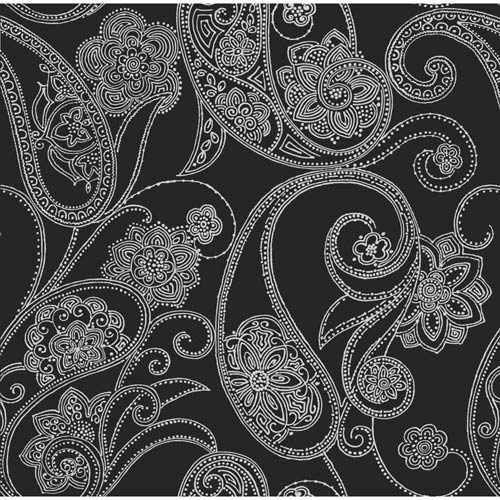 York Wallcoverings Candice Olson Shimmering Details Black Dotted Paisley Wallpaper: Sample Swatch Only