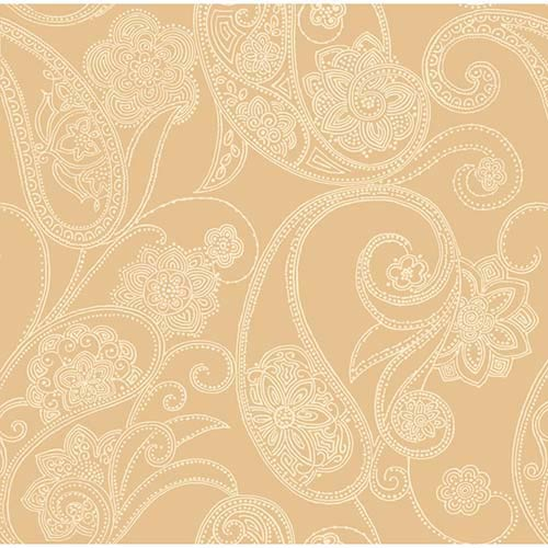 York Wallcoverings Candice Olson Shimmering Details Metallic Dotted Paisley Wallpaper: Sample Swatch Only