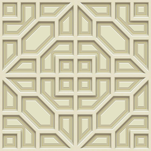 Dimensional Artistry Beige Asian Lattice Wallpaper