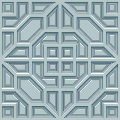 Dimensional Artistry Blue Asian Lattice Wallpaper - SAMPLE SWATCH ONLY