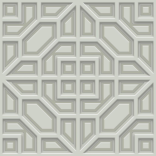 Dimensional Artistry Grey Asian Lattice Wallpaper