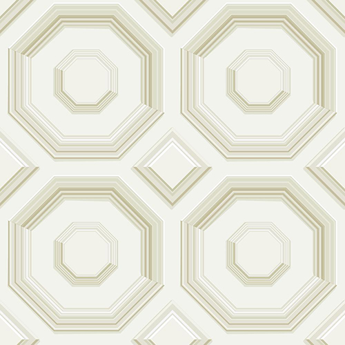 Dimensional Artistry Tan Coffered Octagon Wallpaper