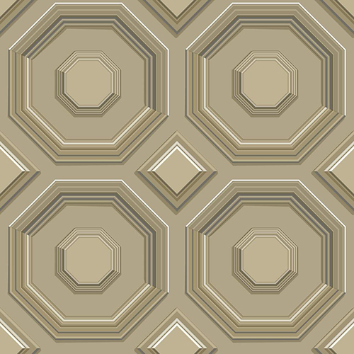 Dimensional Artistry Brown Coffered Octagon Wallpaper