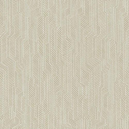 Dimensional Artistry Tan Metropolis Geometric Wallpaper