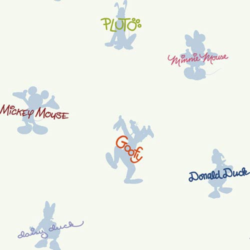 York Wallcoverings Walt Disney Kids Mickey and Friends Autographs and Silhouettes Wallpaper: Sample Swatch Only