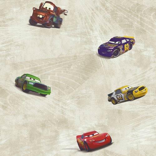 York Wallcoverings Walt Disney Kids Cars Racing Wallpaper: Sample Swatch Only