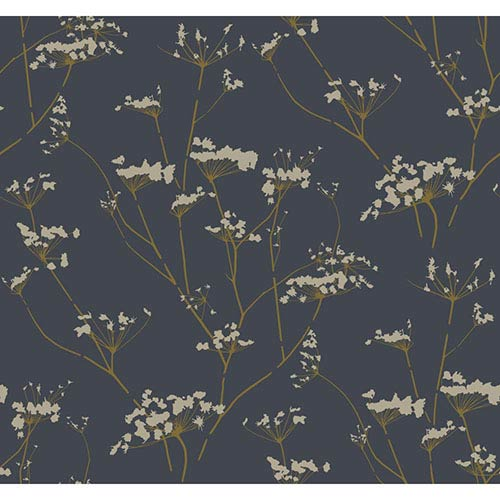 York Wallcoverings Modern Luxe Deepest Slate Blue and Golden Glow Enchanted Wallpaper