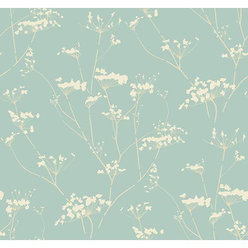 York Wallcoverings Modern Luxe Glazed Glacier Blue and Whipped Cream Enchanted Wallpaper