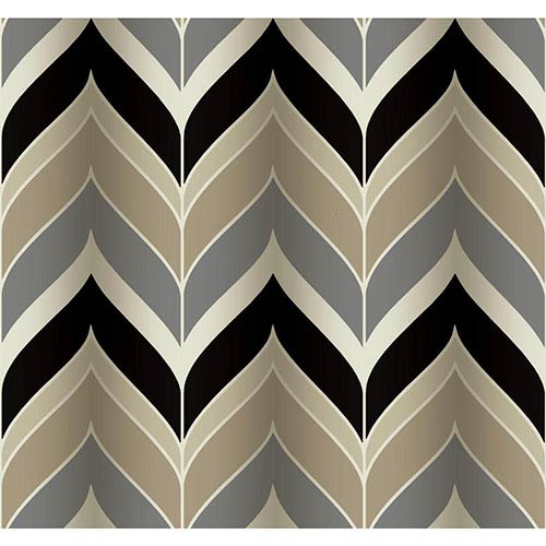 Modern Luxe Cocoa and Ebony Black Gatsby Wallpaper: Sample Swatch Only