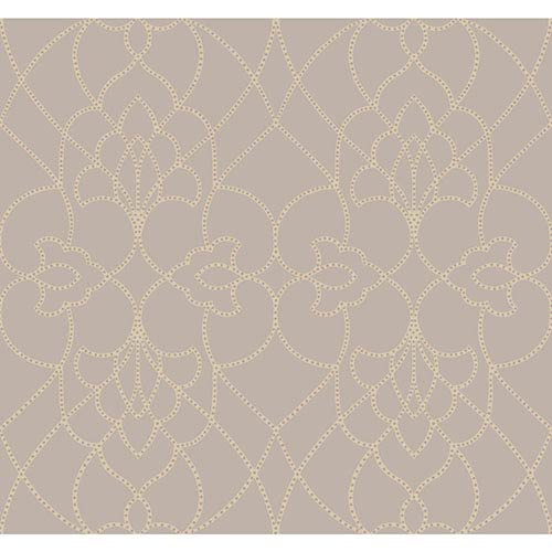 York Wallcoverings Modern Luxe Champagne Pearl and Rich Cream Dotted Pirouette Wallpaper: Sample Swatch Only