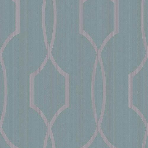 Modern Luxe Shining Silver and Deep Aquamarine Palladian Wallpaper