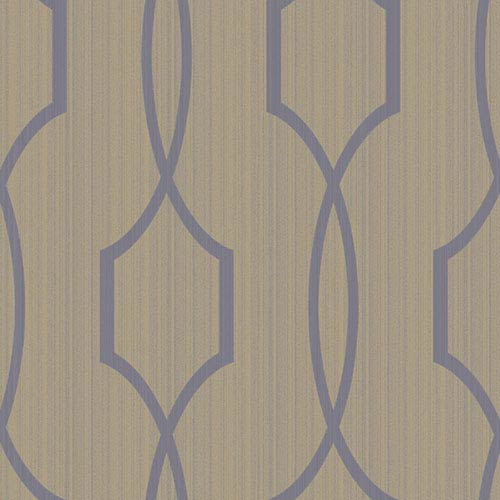 York Wallcoverings Modern Luxe Shining Silver and Cocoa Brown Palladian Wallpaper